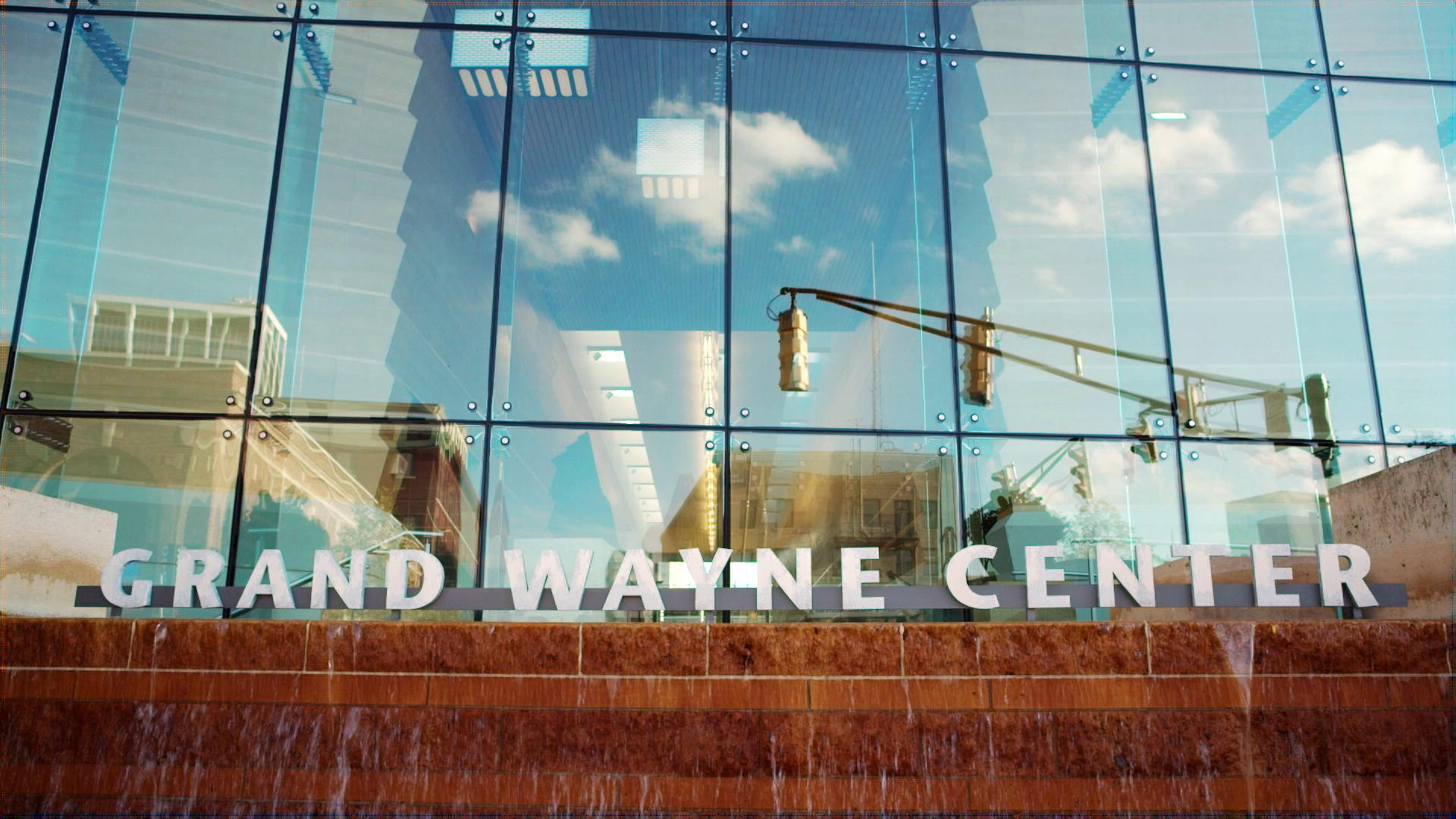 Elevated photograph of Grand Wayne Center front entrance
